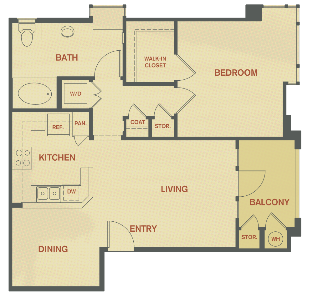Plan A - 1 Bedroom , 1 Bath Floor Plan