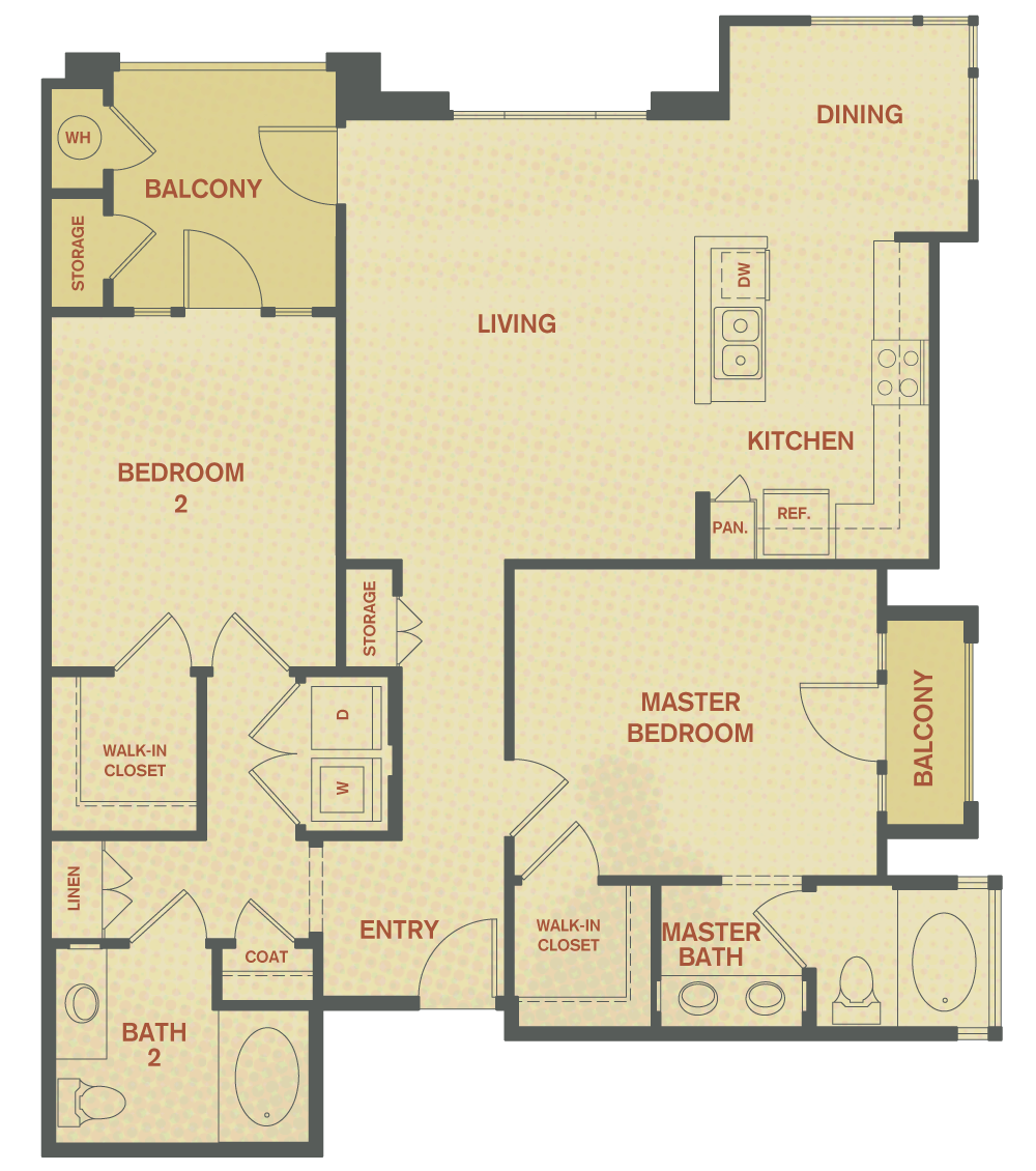 Plan B - 2 Bedroom , 2 Bath Floor Plan