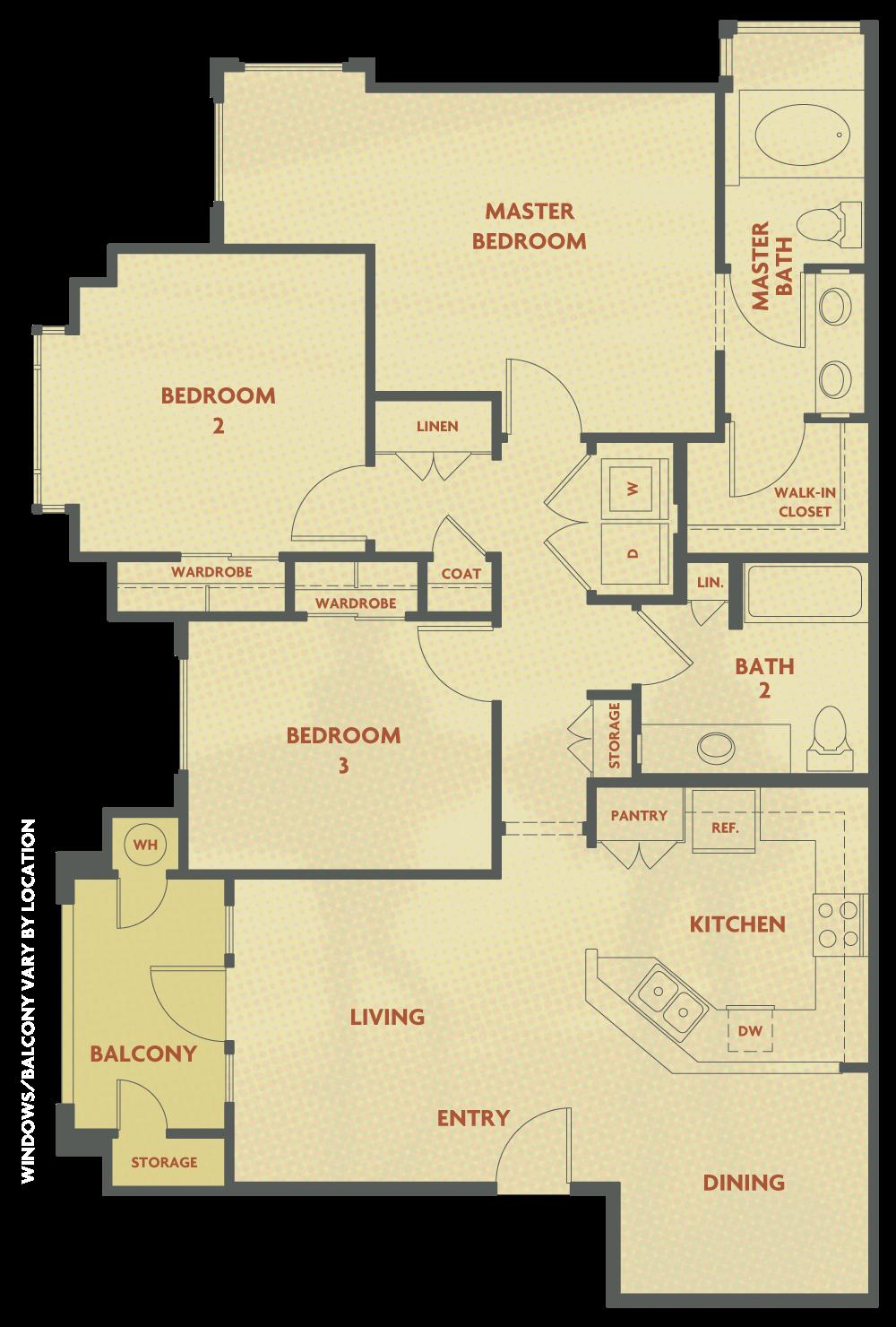 Plan C - 3 Bedroom , 2 Bath Floor Plan