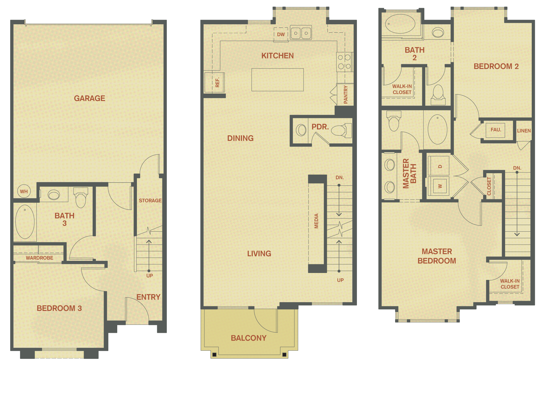 Plan D - 3 Bedroom , 3.5 Bath Floor Plan