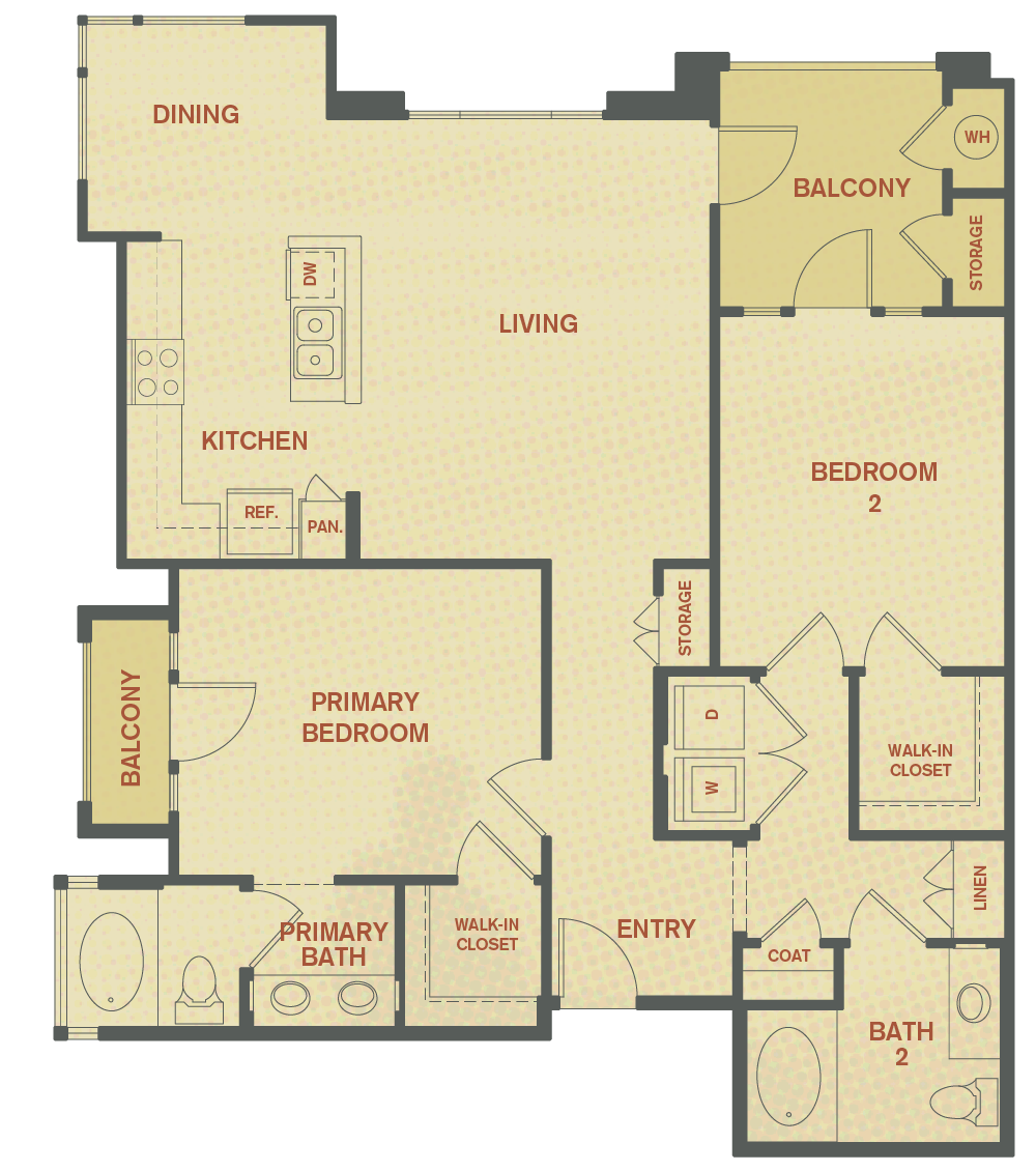 Plan B - 2 Bedroom , 2 Bath Floor Plan