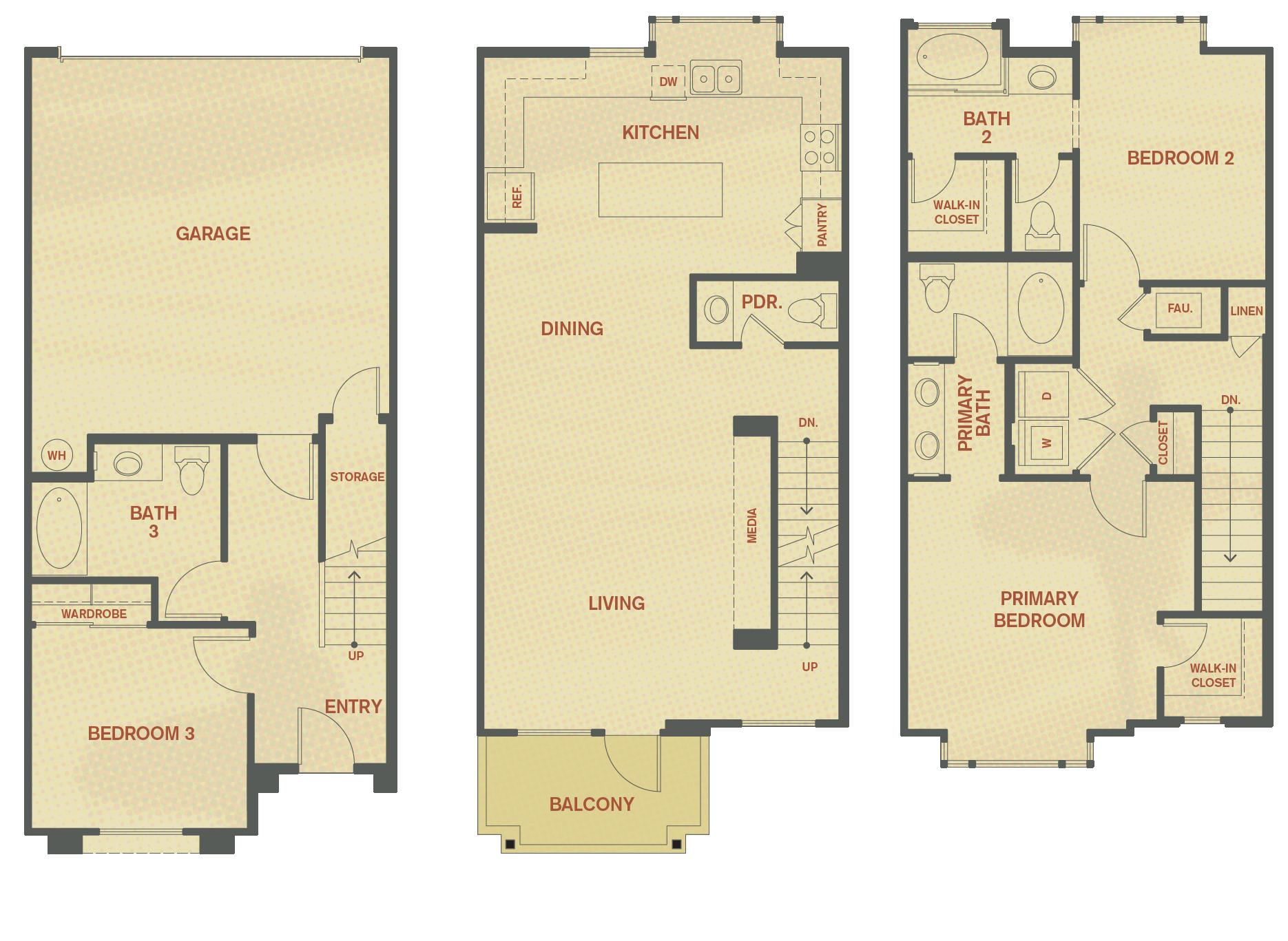 Plan D - 3 Bedroom , 3.5 Bath Floor Plan