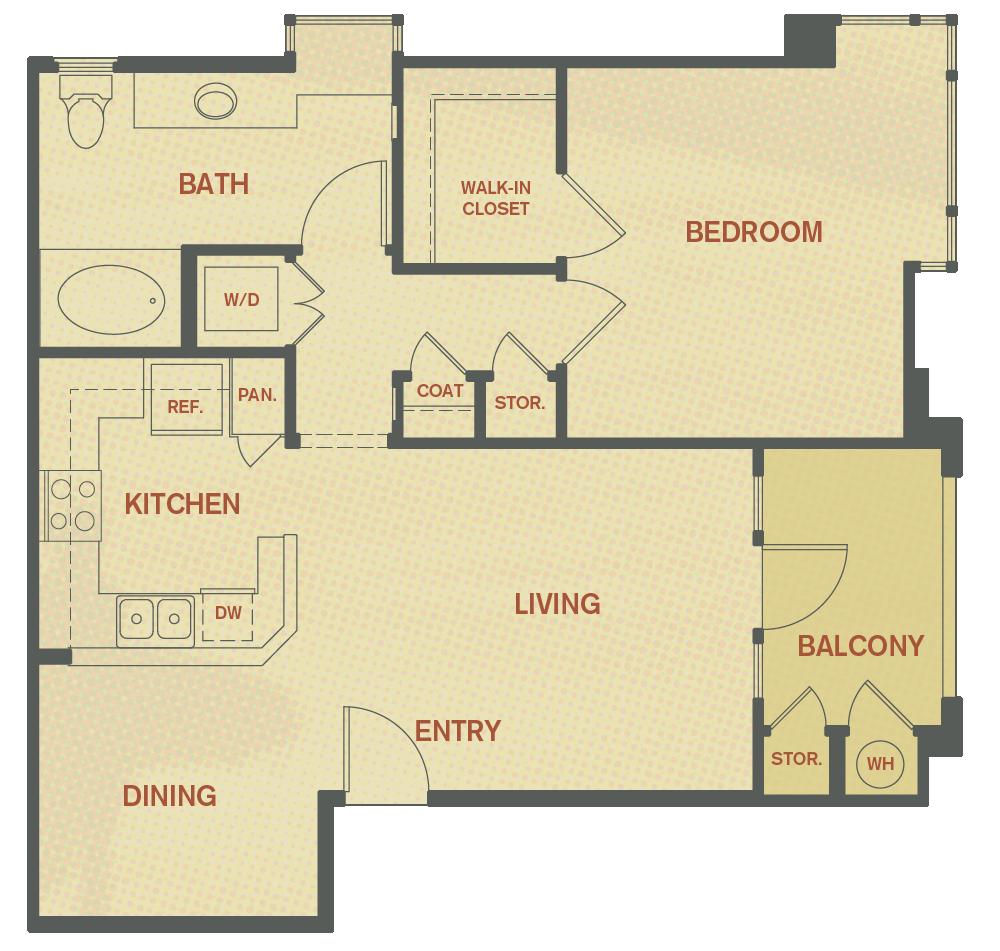 Plan A - 1 Bedroom , 1 Bath Floor Plan